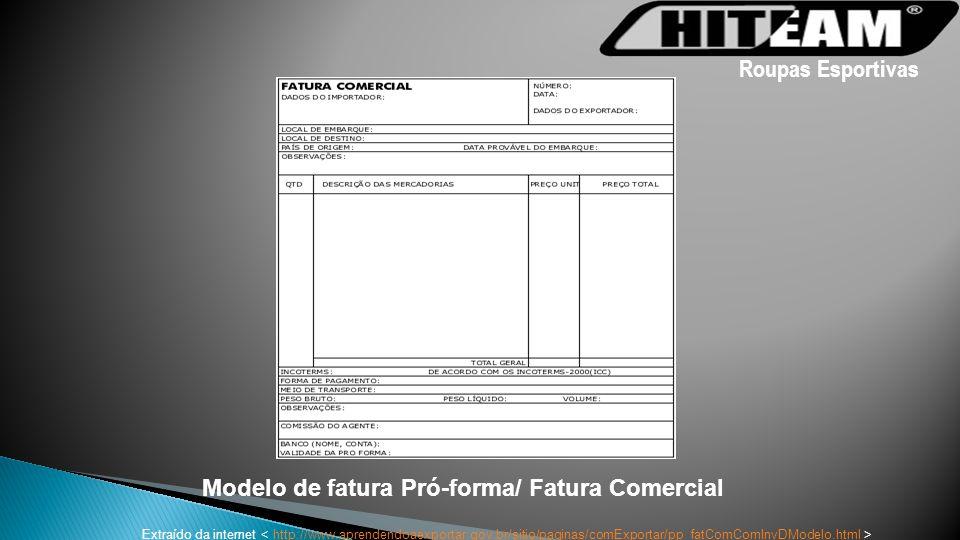 Modelo de fatura Pró-forma/ Fatura Comercial