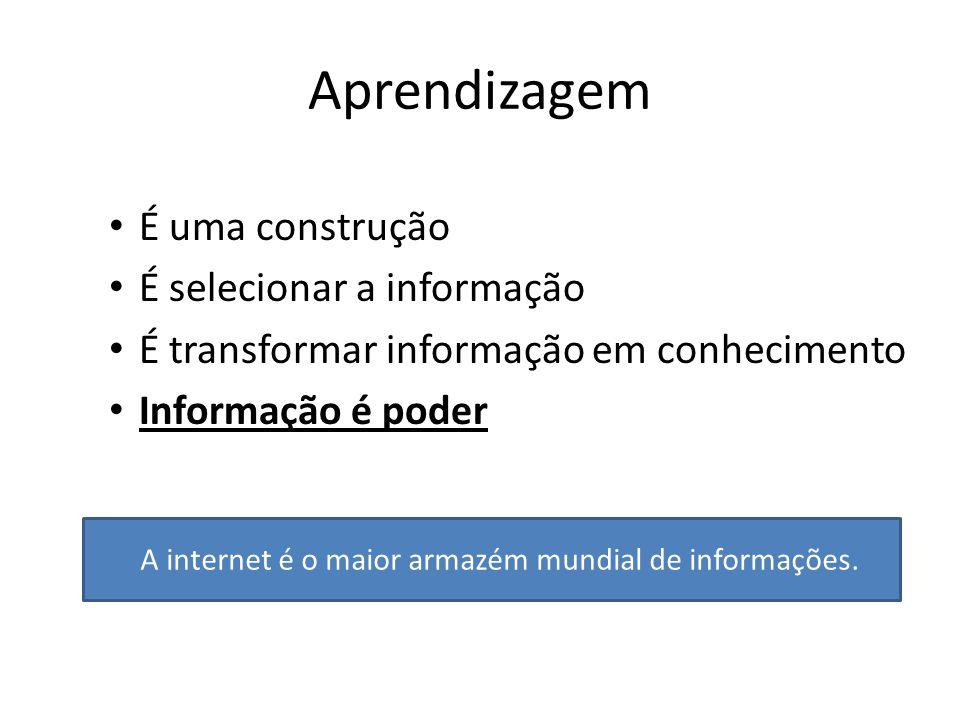 Aprendizagem É uma construção É selecionar a informação