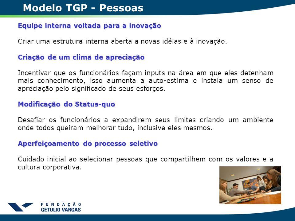 Modelo TGP - Pessoas Equipe interna voltada para a inovação