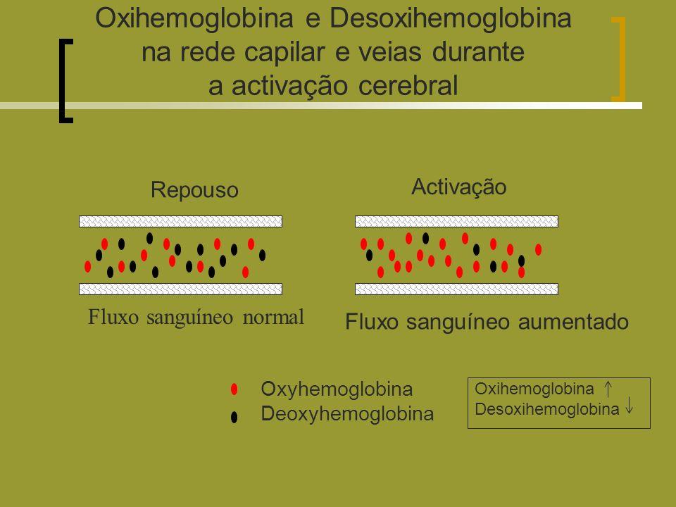 Oxihemoglobina e Desoxihemoglobina na rede capilar e veias durante a activação cerebral