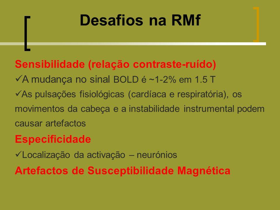 Desafios na RMf Sensibilidade (relação contraste-ruído) Especificidade