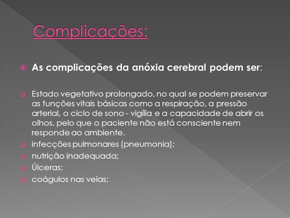 Complicações: As complicações da anóxia cerebral podem ser: