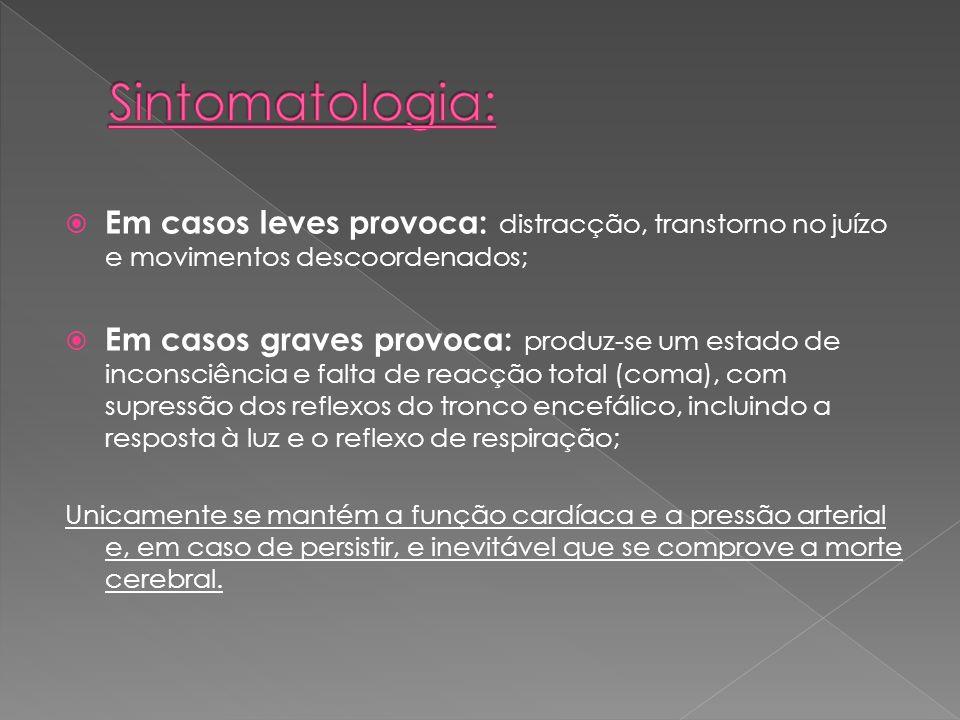 Sintomatologia: Em casos leves provoca: distracção, transtorno no juízo e movimentos descoordenados;