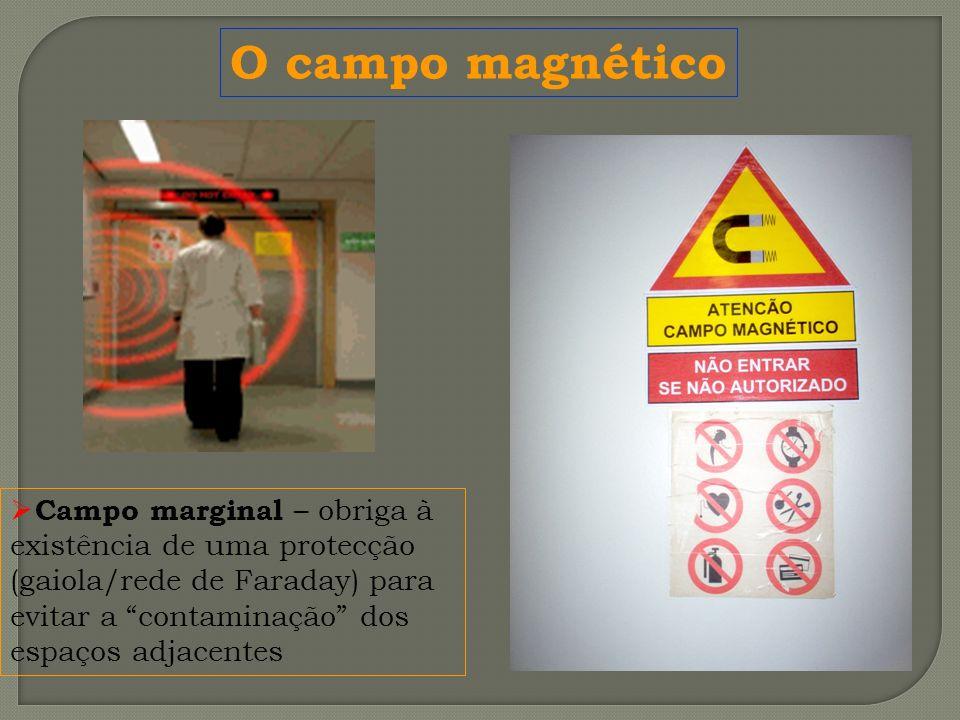 O campo magnético Campo marginal – obriga à existência de uma protecção (gaiola/rede de Faraday) para evitar a contaminação dos espaços adjacentes.