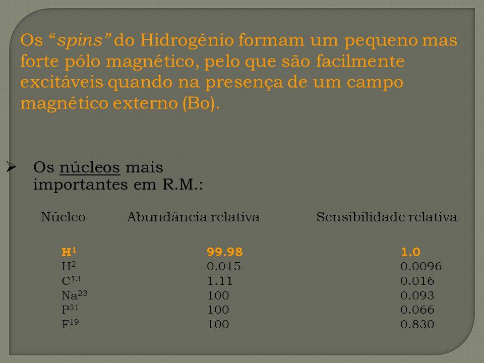 Os spins do Hidrogénio formam um pequeno mas forte pólo magnético, pelo que são facilmente excitáveis quando na presença de um campo magnético externo (Bo).
