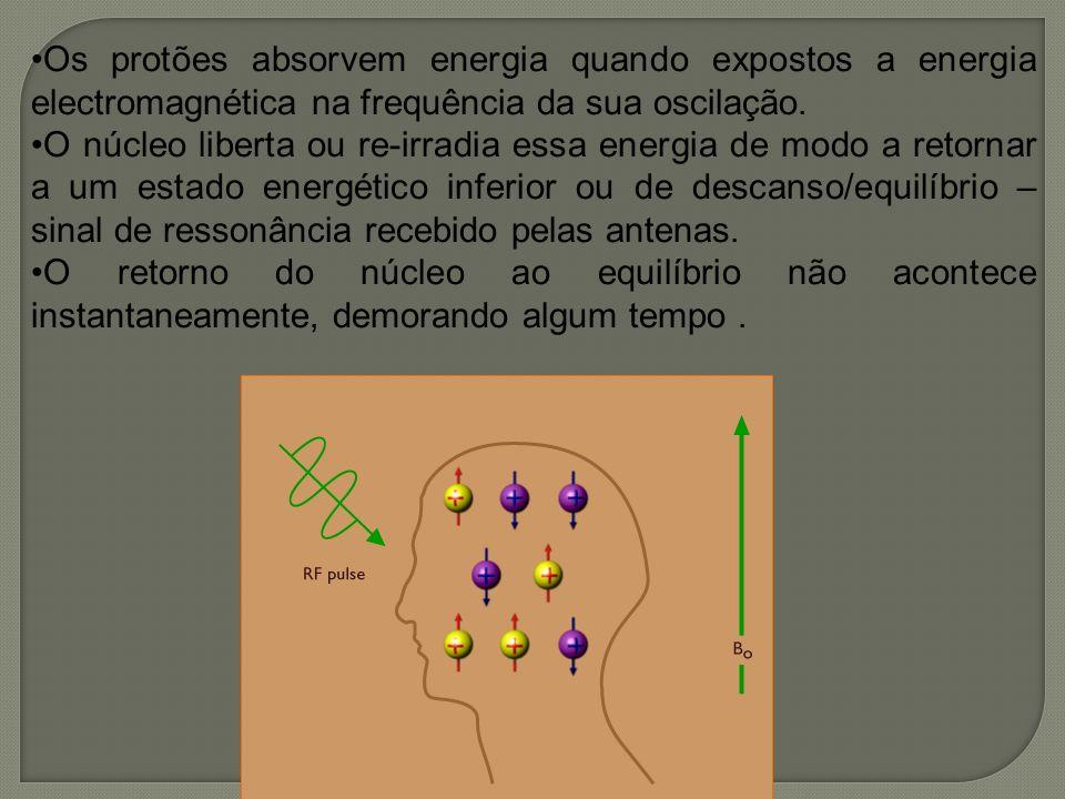Os protões absorvem energia quando expostos a energia electromagnética na frequência da sua oscilação.