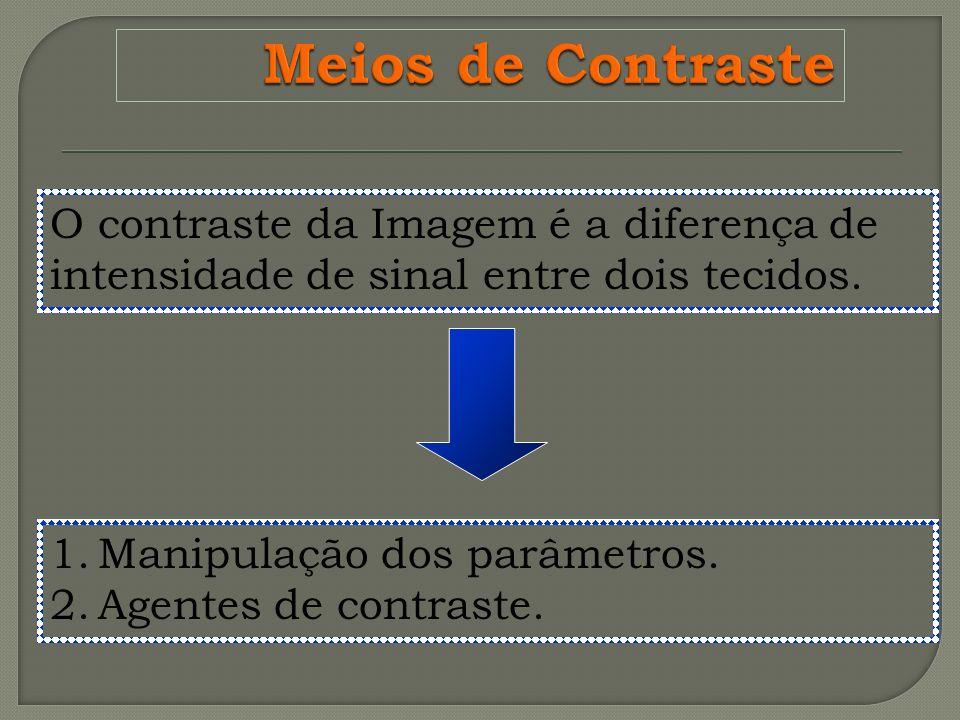 Meios de Contraste O contraste da Imagem é a diferença de intensidade de sinal entre dois tecidos. Manipulação dos parâmetros.