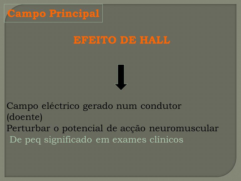 Campo Principal EFEITO DE HALL Campo eléctrico gerado num condutor