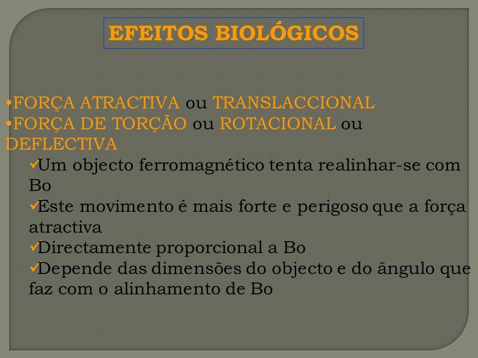 EFEITOS BIOLÓGICOS FORÇA ATRACTIVA ou TRANSLACCIONAL