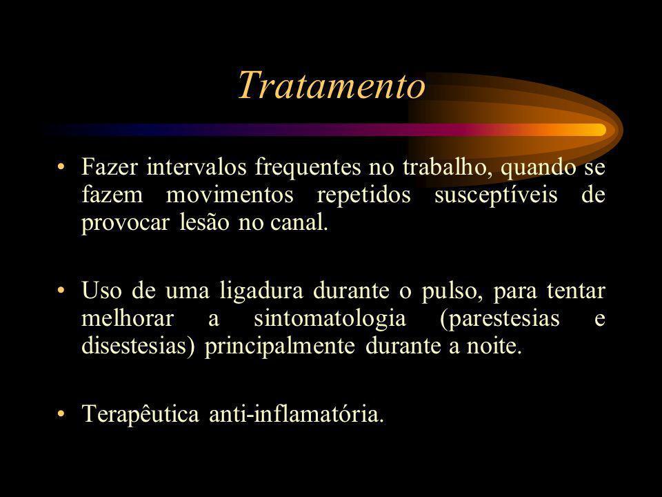 Tratamento Fazer intervalos frequentes no trabalho, quando se fazem movimentos repetidos susceptíveis de provocar lesão no canal.