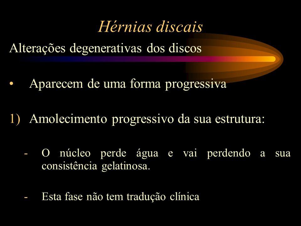 Hérnias discais Alterações degenerativas dos discos