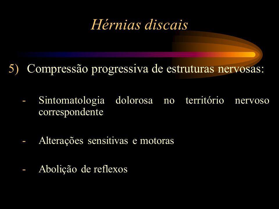 Hérnias discais Compressão progressiva de estruturas nervosas: