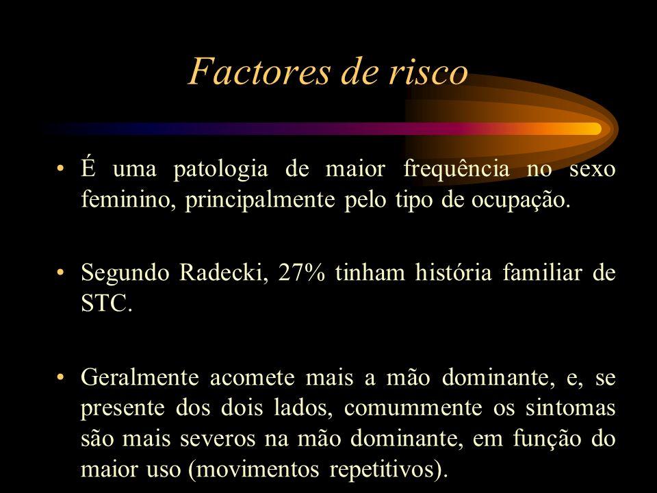 Factores de risco É uma patologia de maior frequência no sexo feminino, principalmente pelo tipo de ocupação.