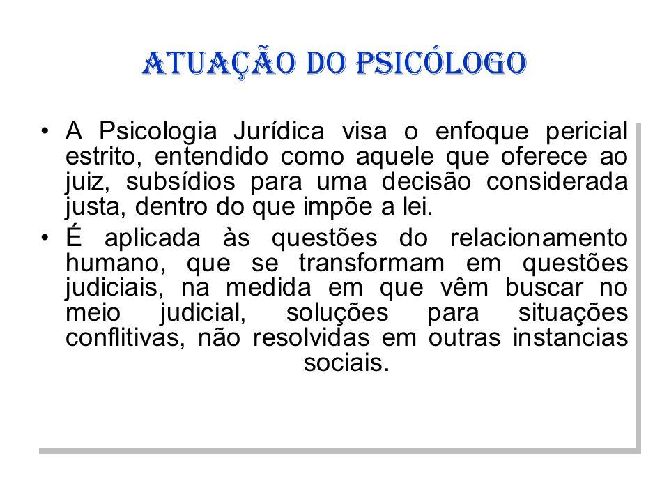 ATUAÇÃO DO PSICÓLOGO
