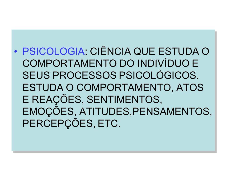 PSICOLOGIA: CIÊNCIA QUE ESTUDA O COMPORTAMENTO DO INDIVÍDUO E SEUS PROCESSOS PSICOLÓGICOS.