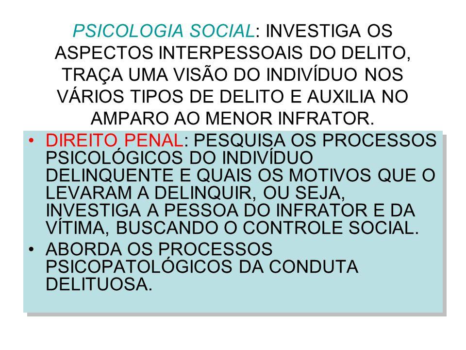 PSICOLOGIA SOCIAL: INVESTIGA OS ASPECTOS INTERPESSOAIS DO DELITO, TRAÇA UMA VISÃO DO INDIVÍDUO NOS VÁRIOS TIPOS DE DELITO E AUXILIA NO AMPARO AO MENOR INFRATOR.