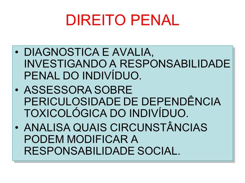 DIREITO PENAL DIAGNOSTICA E AVALIA, INVESTIGANDO A RESPONSABILIDADE PENAL DO INDIVÍDUO.