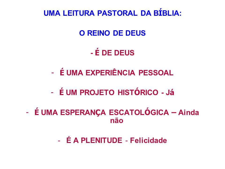 UMA LEITURA PASTORAL DA BÍBLIA: O REINO DE DEUS - É DE DEUS