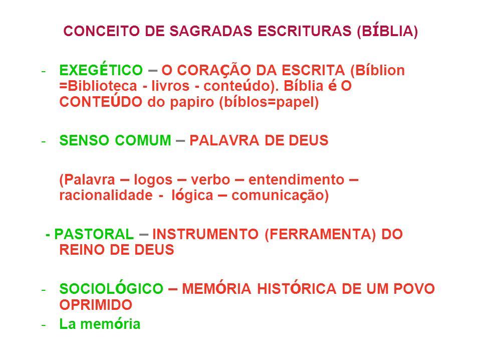 CONCEITO DE SAGRADAS ESCRITURAS (BÍBLIA)