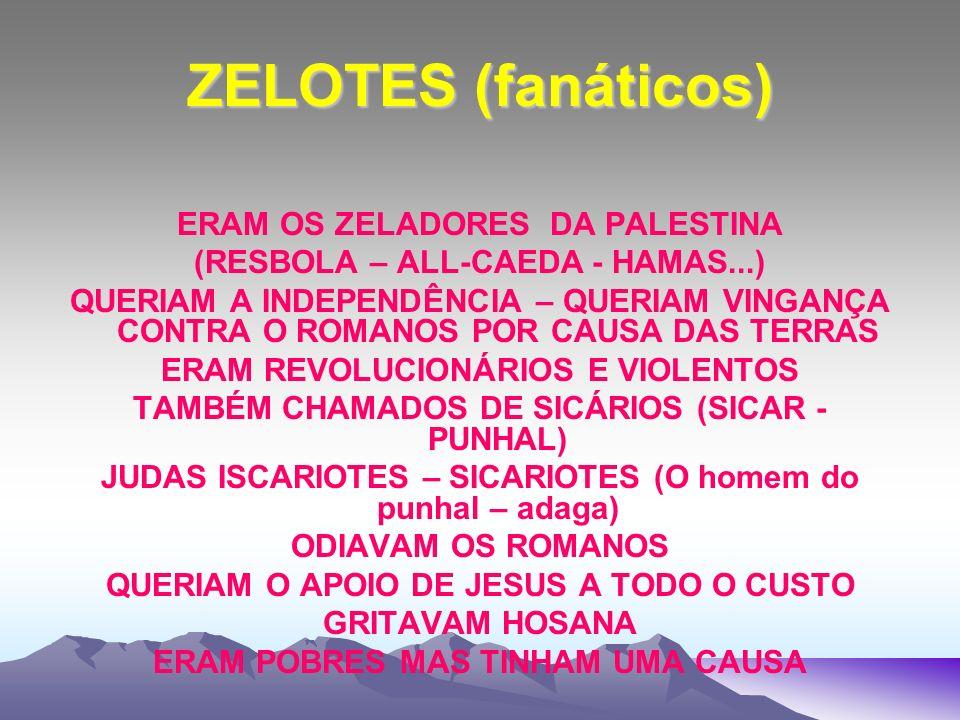 ZELOTES (fanáticos) ERAM OS ZELADORES DA PALESTINA