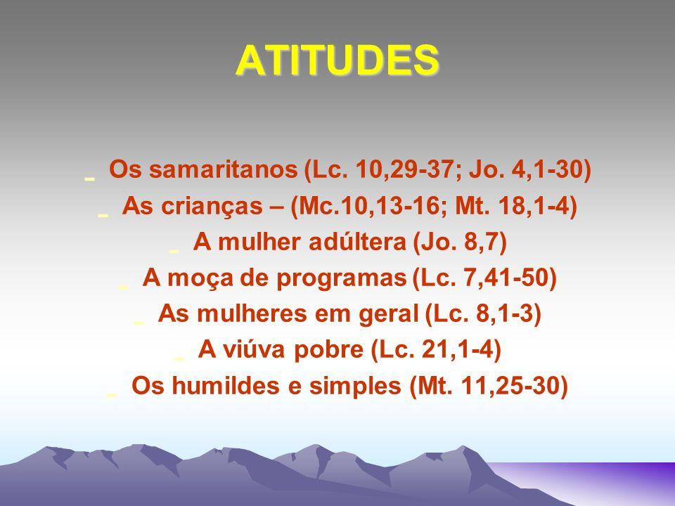 ATITUDES Os samaritanos (Lc. 10,29-37; Jo. 4,1-30)