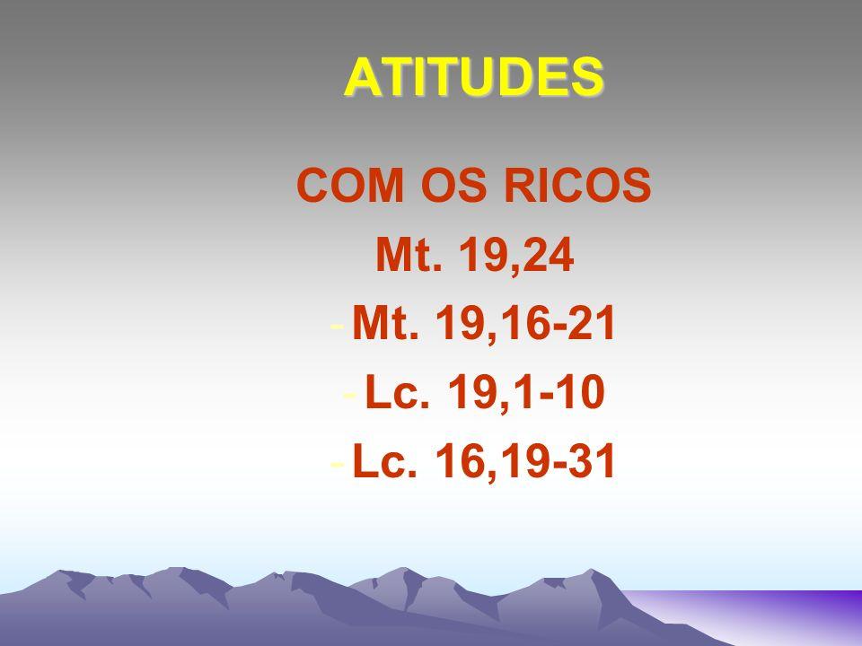 ATITUDES COM OS RICOS Mt. 19,24 Mt. 19,16-21 Lc. 19,1-10 Lc. 16,19-31