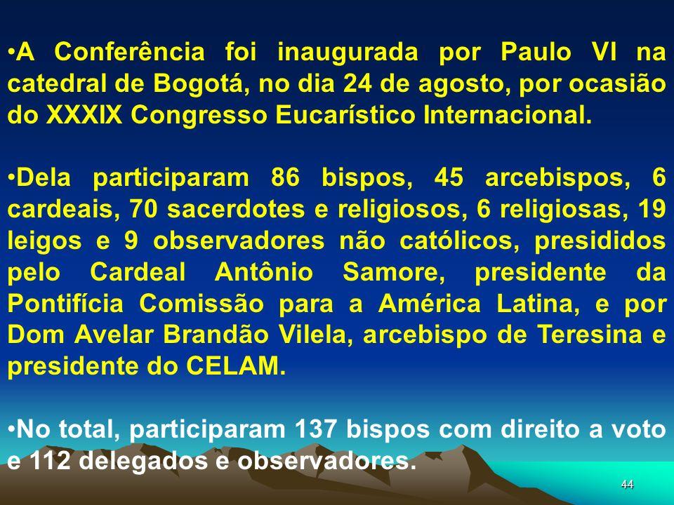 A Conferência foi inaugurada por Paulo VI na catedral de Bogotá, no dia 24 de agosto, por ocasião do XXXIX Congresso Eucarístico Internacional.
