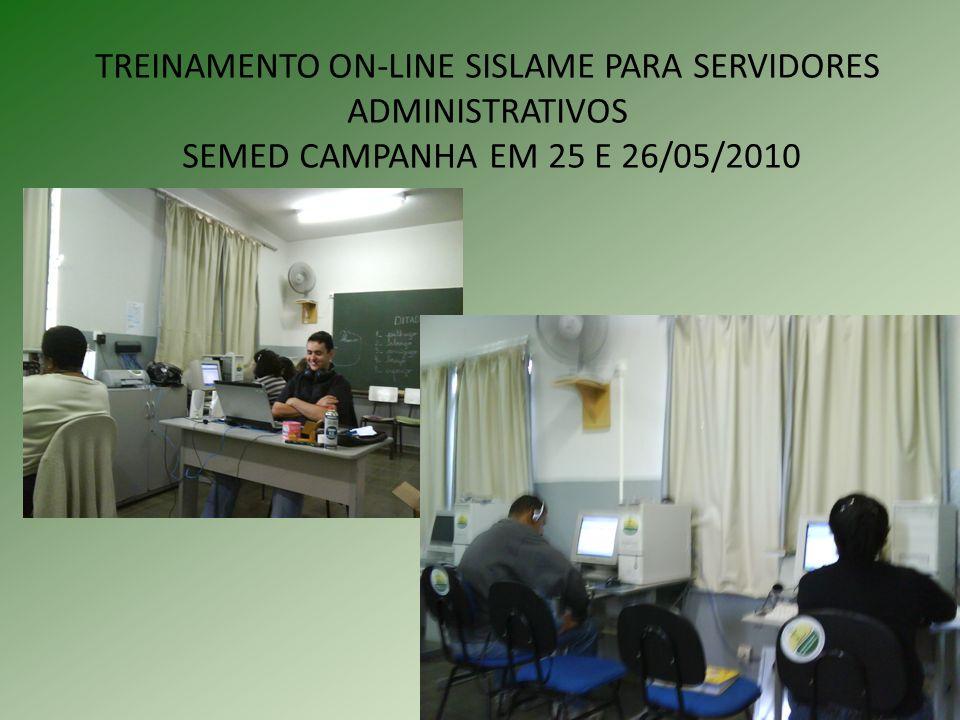 TREINAMENTO ON-LINE SISLAME PARA SERVIDORES ADMINISTRATIVOS