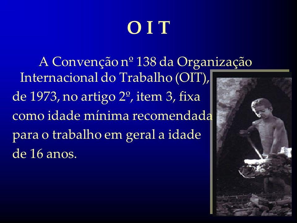O I TA Convenção nº 138 da Organização Internacional do Trabalho (OIT), de 1973, no artigo 2º, item 3, fixa.