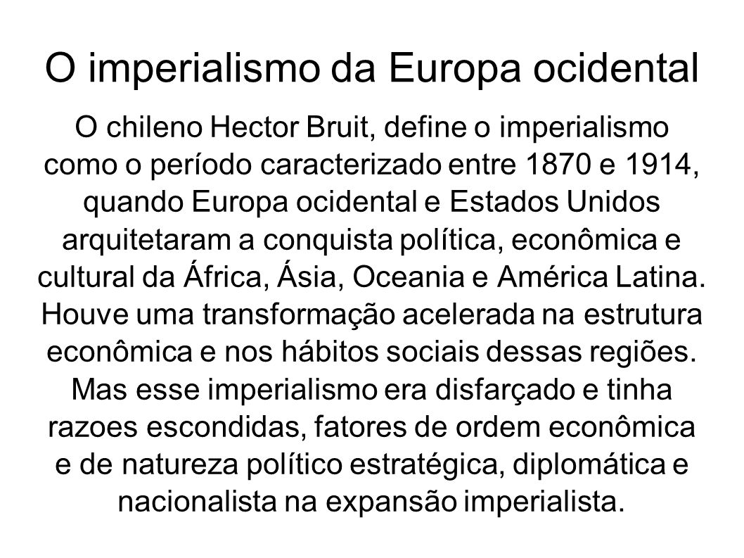 O imperialismo da Europa ocidental