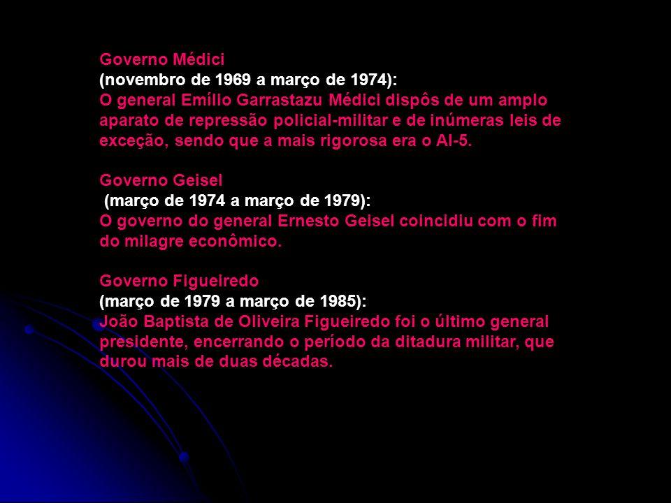 Governo Médici (novembro de 1969 a março de 1974):