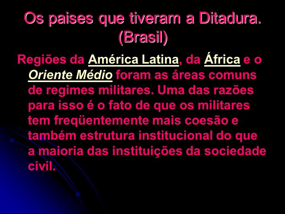 Os paises que tiveram a Ditadura. (Brasil)
