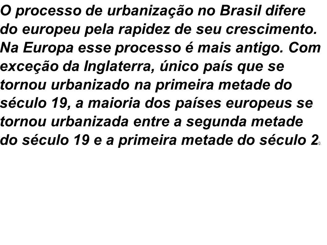 O processo de urbanização no Brasil difere do europeu pela rapidez de seu crescimento.