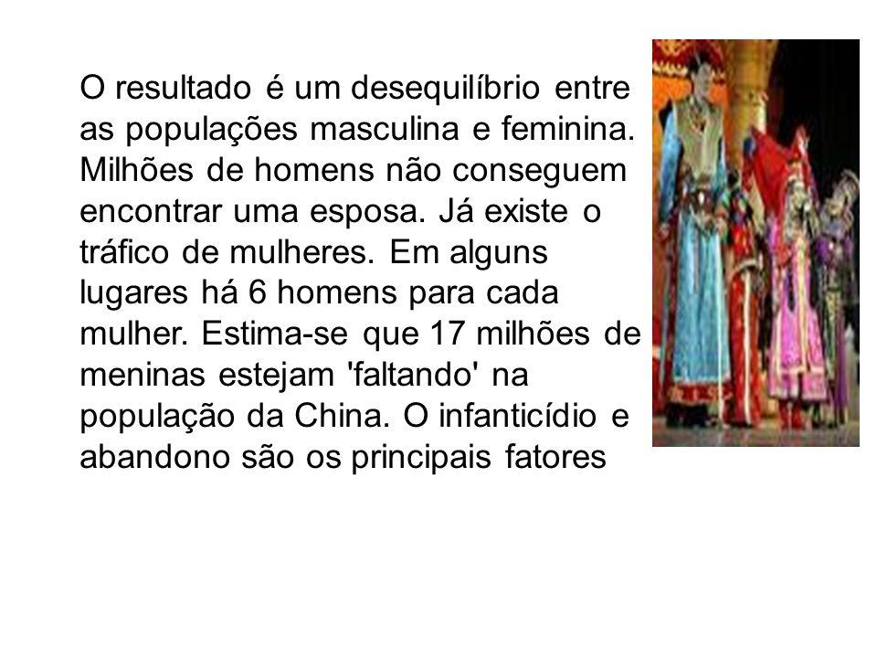 O resultado é um desequilíbrio entre as populações masculina e feminina.