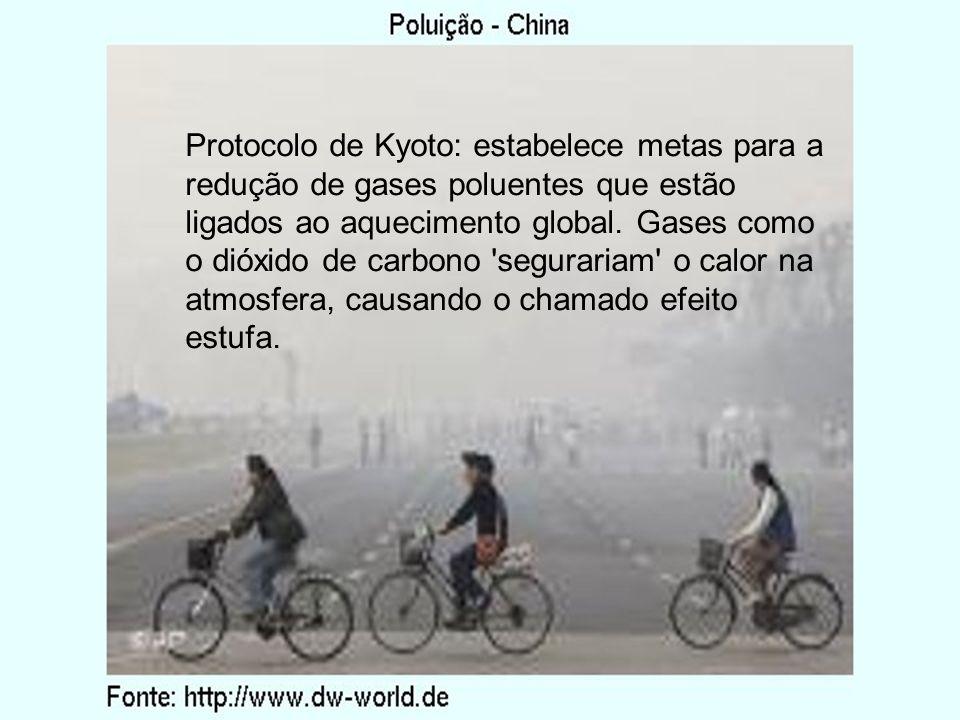 Protocolo de Kyoto: estabelece metas para a redução de gases poluentes que estão ligados ao aquecimento global.