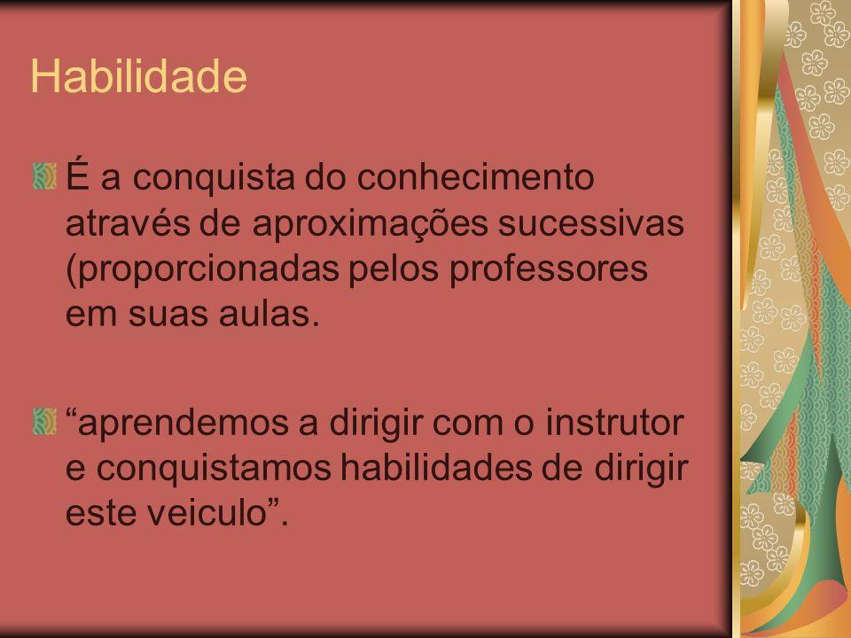 HabilidadeÉ a conquista do conhecimento através de aproximações sucessivas (proporcionadas pelos professores em suas aulas.