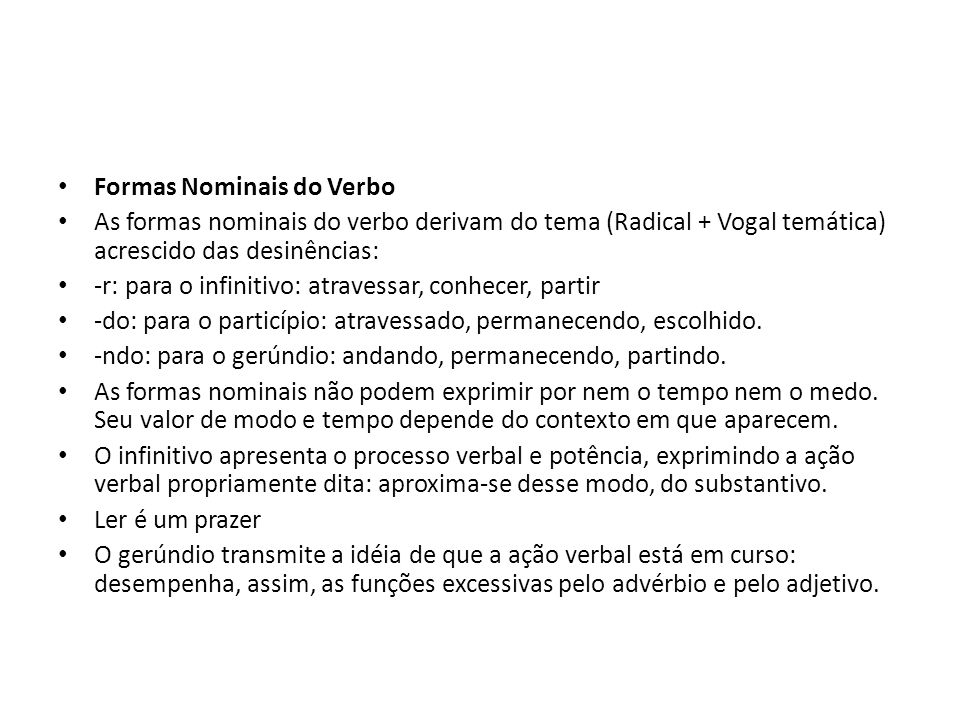 Formas Nominais do Verbo
