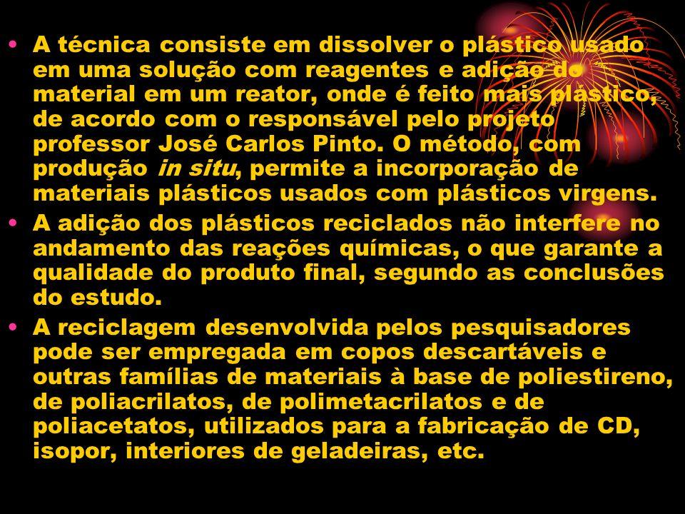 A técnica consiste em dissolver o plástico usado em uma solução com reagentes e adição do material em um reator, onde é feito mais plástico, de acordo com o responsável pelo projeto professor José Carlos Pinto. O método, com produção in situ, permite a incorporação de materiais plásticos usados com plásticos virgens.