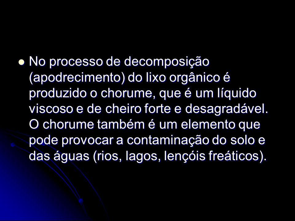 No processo de decomposição (apodrecimento) do lixo orgânico é produzido o chorume, que é um líquido viscoso e de cheiro forte e desagradável.