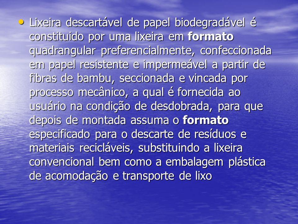 Lixeira descartável de papel biodegradável é constituido por uma lixeira em formato quadrangular preferencialmente, confeccionada em papel resistente e impermeável a partir de fibras de bambu, seccionada e vincada por processo mecânico, a qual é fornecida ao usuário na condição de desdobrada, para que depois de montada assuma o formato especificado para o descarte de resíduos e materiais recicláveis, substituindo a lixeira convencional bem como a embalagem plástica de acomodação e transporte de lixo