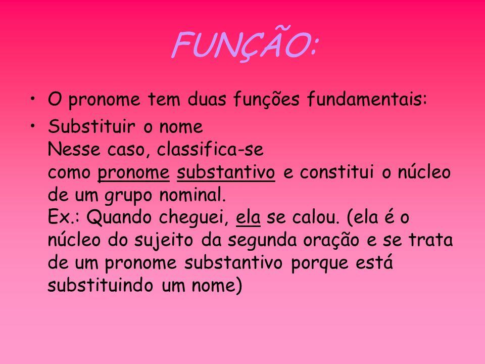 FUNÇÃO: O pronome tem duas funções fundamentais: