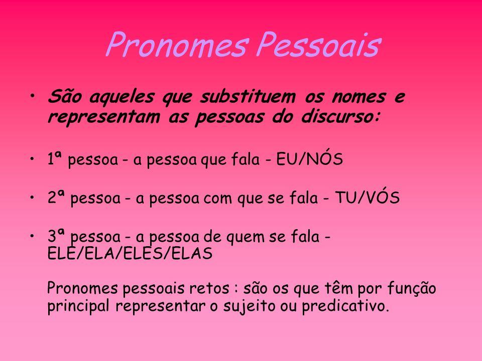 Pronomes Pessoais São aqueles que substituem os nomes e representam as pessoas do discurso: 1ª pessoa - a pessoa que fala - EU/NÓS.