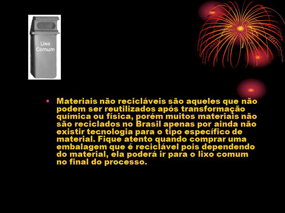 Materiais não recicláveis são aqueles que não podem ser reutilizados após transformação química ou física, porém muitos materiais não são reciclados no Brasil apenas por ainda não existir tecnologia para o tipo específico de material.