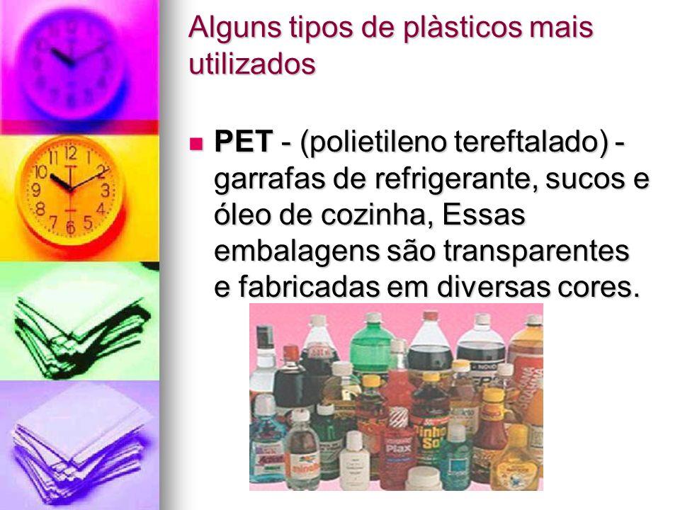 Alguns tipos de plàsticos mais utilizados