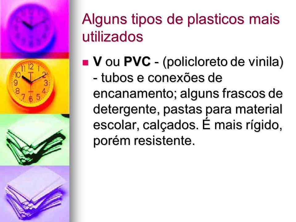 Alguns tipos de plasticos mais utilizados