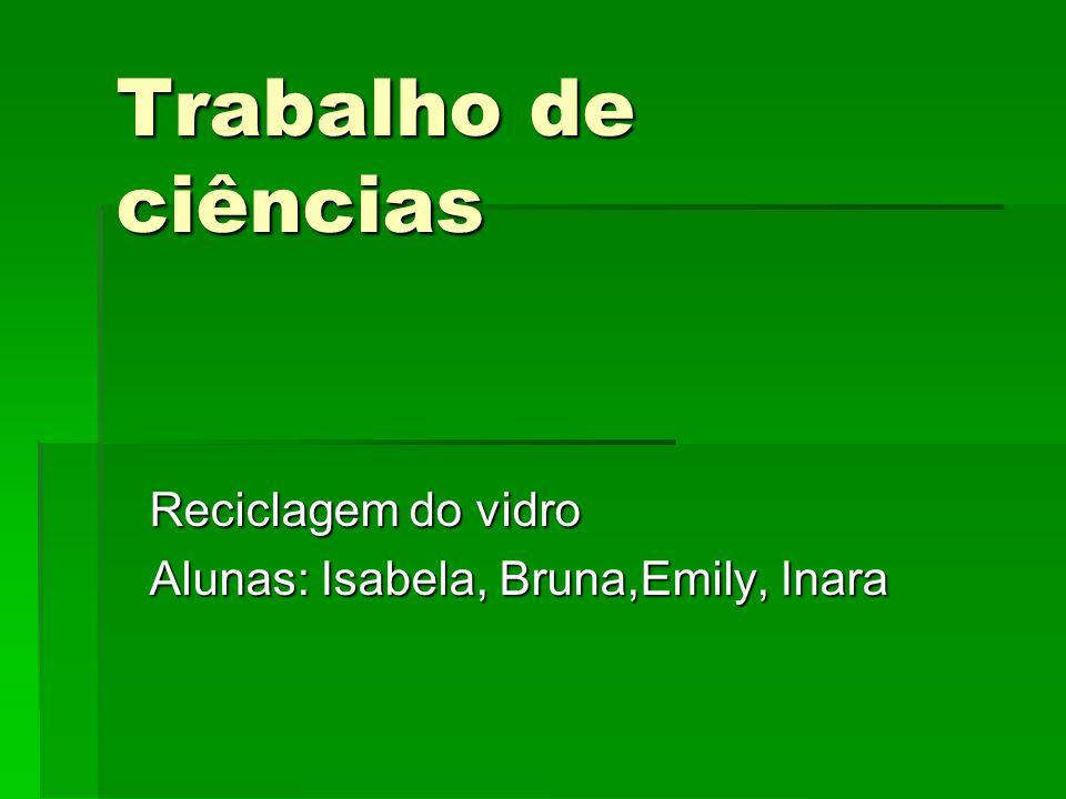 Reciclagem do vidro Alunas: Isabela, Bruna,Emily, Inara