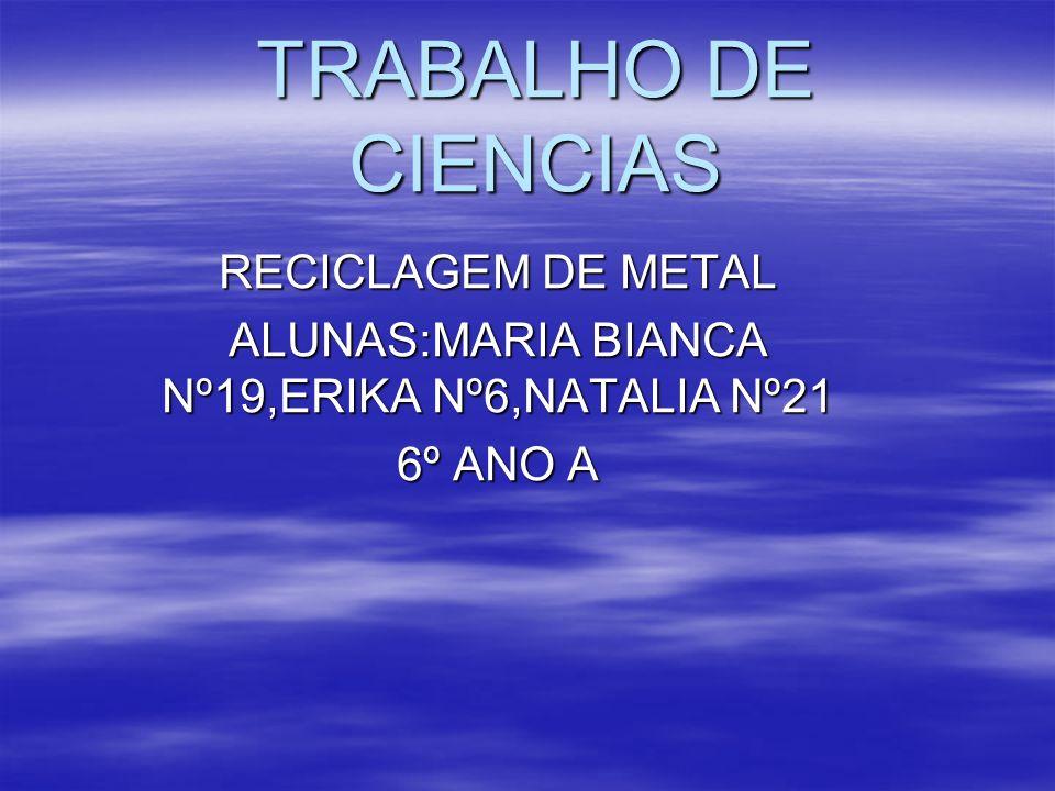 ALUNAS:MARIA BIANCA Nº19,ERIKA Nº6,NATALIA Nº21