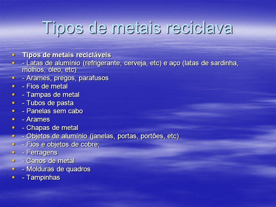 Tipos de metais reciclava