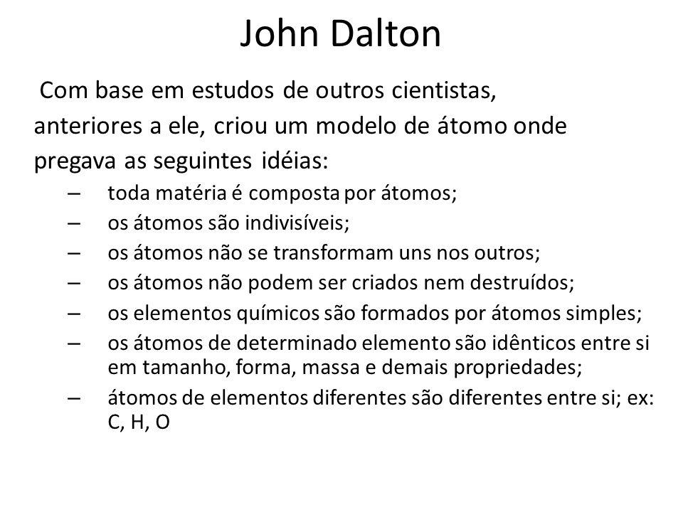 John Dalton Com base em estudos de outros cientistas,