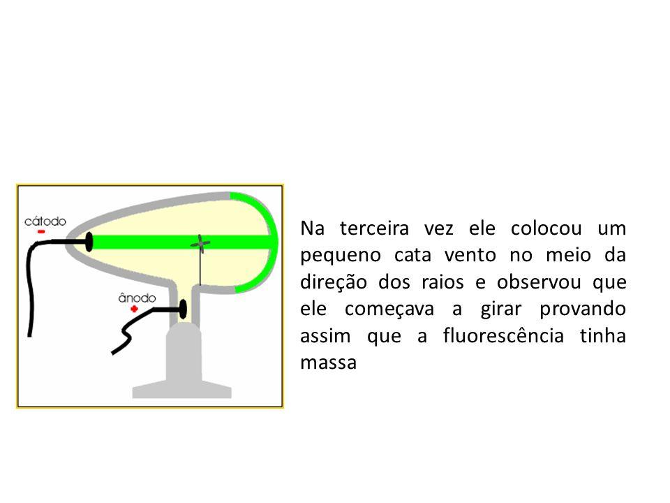 Na terceira vez ele colocou um pequeno cata vento no meio da direção dos raios e observou que ele começava a girar provando assim que a fluorescência tinha massa